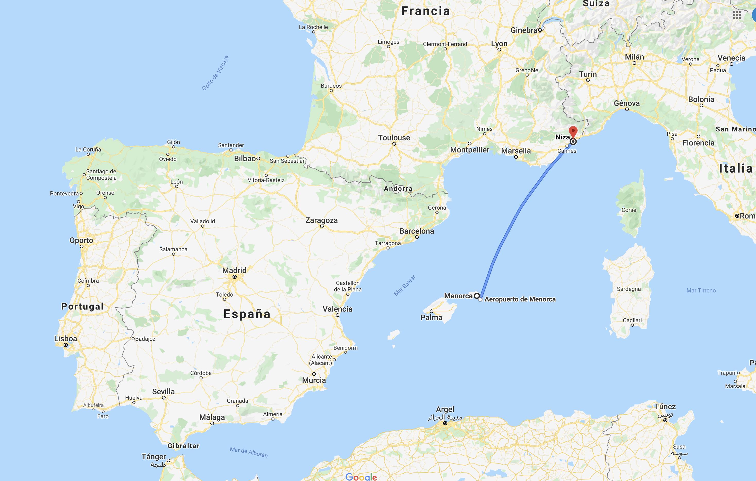 Direct flight between Menorca and Nice